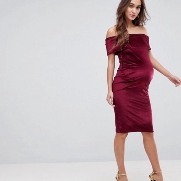 3db0ed048224 ASOS Maternity Dresses   Velvet Bardot Dress Worn Once   Poshmark